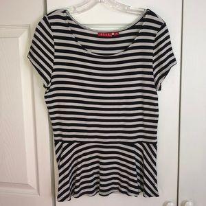 Black and white striped peplum top